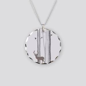 Birch Trees With Deer Necklace Circle Charm