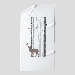Birch Trees with Deer Beach Towel