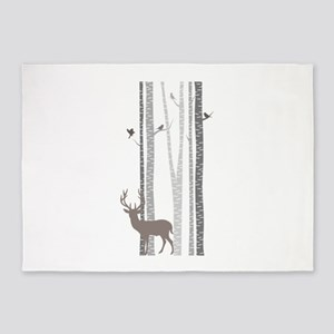 Birch Trees with Deer 5'x7'Area Rug