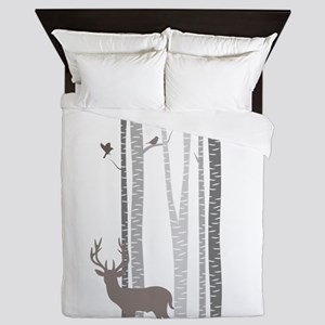 Birch Trees With Deer Queen Duvet