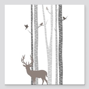 """Birch Trees with Deer Square Car Magnet 3"""" x 3"""""""