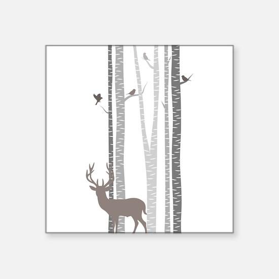 Birch Trees with Deer Sticker
