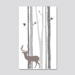 Birch Trees With Deer 20x12 Wall Decal
