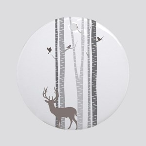 Birch Trees With Deer Ornament (round)