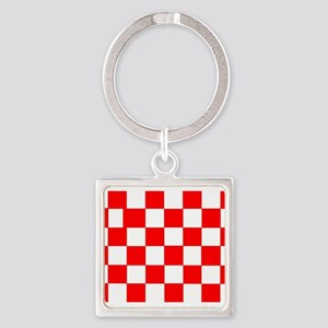 Red White Checkered Flag Keychains