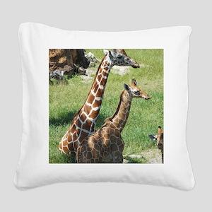 Giraffes Square Canvas Pillow