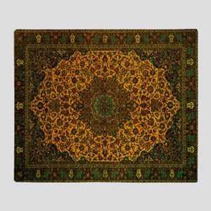 Persian Rug Dark Green and Gold Throw Blanket
