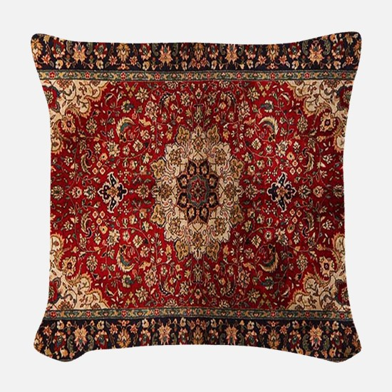 Persian Rug Red and Gold Woven Throw Pillow