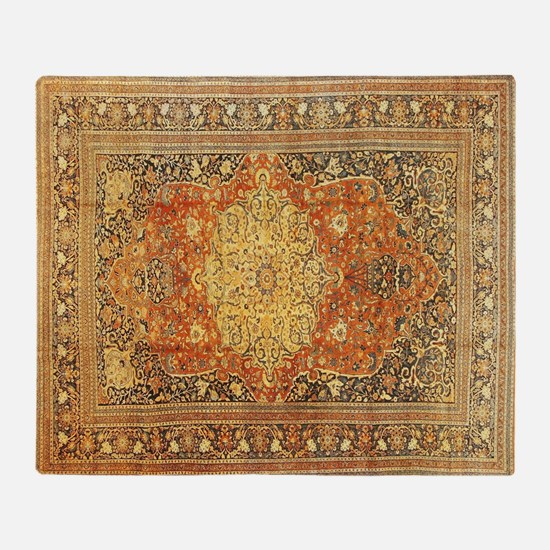 Tabriz Persian Rug Gold and Red Throw Blanket