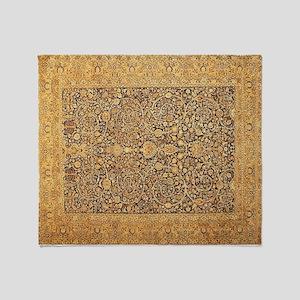Antique Kerman Persian Rug Geometric Throw Blanket