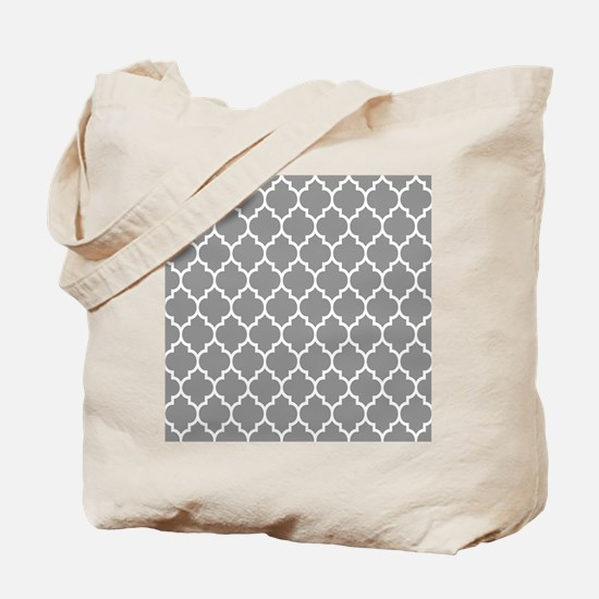 Gray And White Quatrefoil Geometric Pattern Tote B