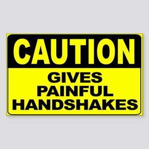 Gives Painful Handshakes Wide Sticker (Rectangle)
