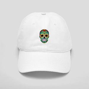 Colorful Retro Flowers Sugar Skull Baseball Cap