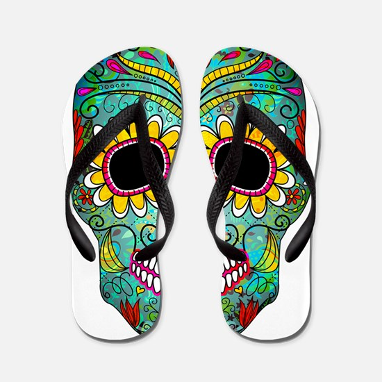Colorful Retro Flowers Sugar Skull Flip Flops