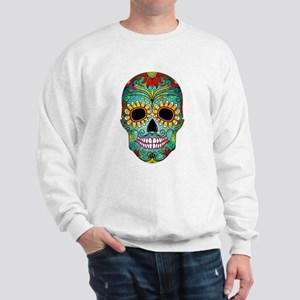Colorful Retro Flowers Sugar Skull Sweatshirt