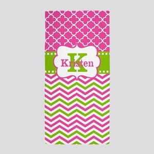 Pink Green Chevron Quarefoil Personlaized Beach To