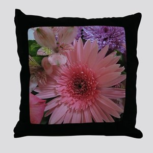 Pink and Purple Flowers Throw Pillow