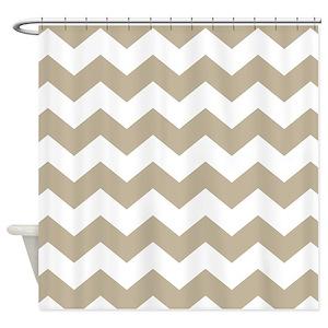Tan White Chevron Shower Curtains