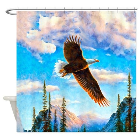 Soaring Bald Eagle Shower Curtain By Aaanativearts