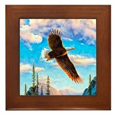 Soaring Bald Eagle Framed Tile