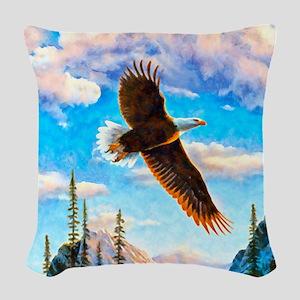 Soaring Bald Eagle Woven Throw Pillow