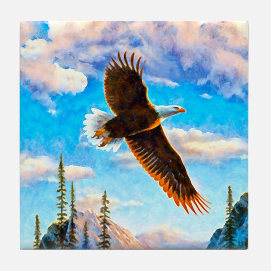 Soaring Bald Eagle Tile Coaster