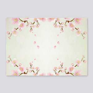 Cherry Blossom In Pink And White 5'x7'Area Rug