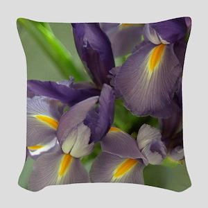 Cascade Purple Iris Flower Woven Throw Pillow