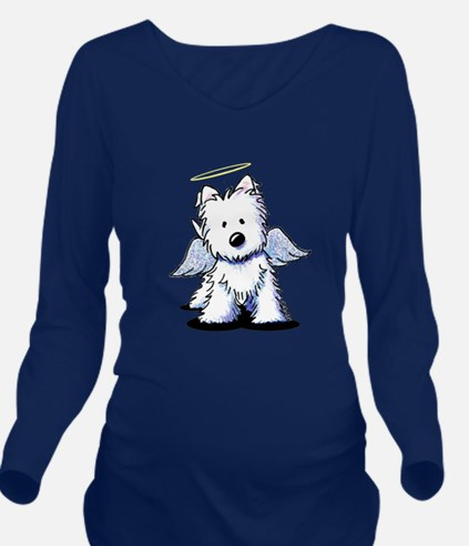 Westie Angel Long Sleeve Maternity T-Shirt