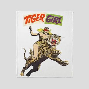 Tiger Girl Throw Blanket