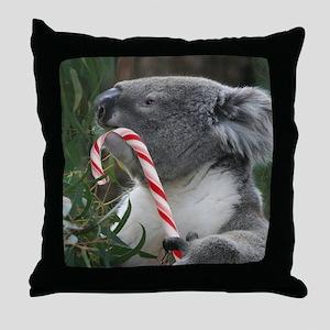 Christmas Koala Candy Cane Throw Pillow