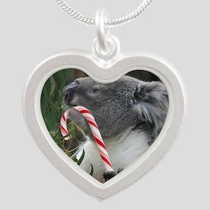 Christmas Koala Candy Cane Silver Heart Necklace