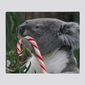 Christmas Koala Candy Cane Throw Blanket