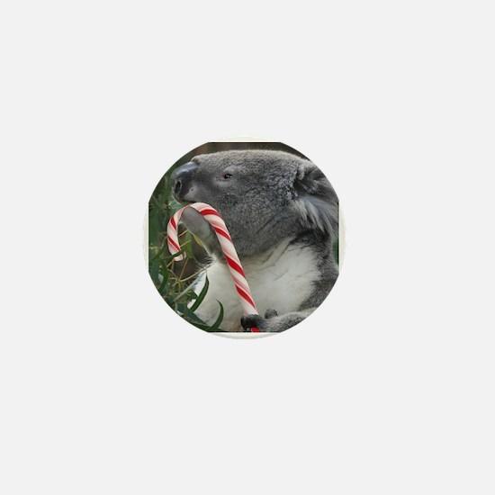 Christmas Koala Candy Cane Mini Button