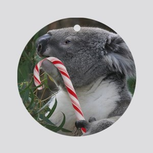 Christmas Koala Candy Cane Round Ornament