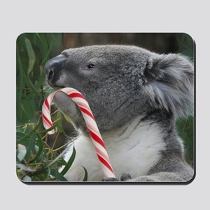 Christmas Koala Candy Cane Mousepad