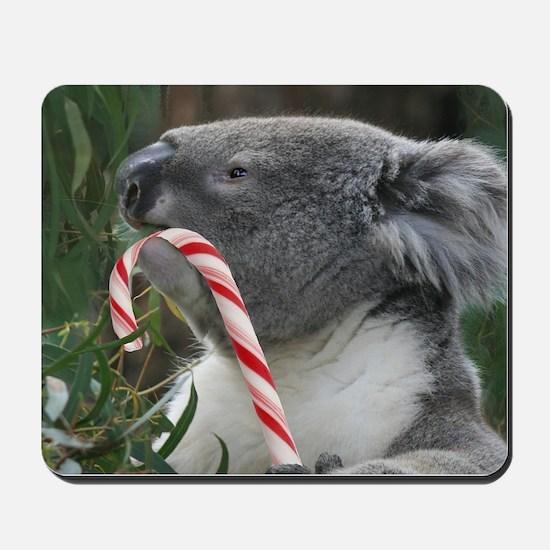 Christmas Koala Candy Cane Mousepad
