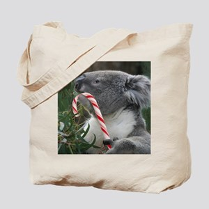 Christmas Koala Candy Cane Tote Bag