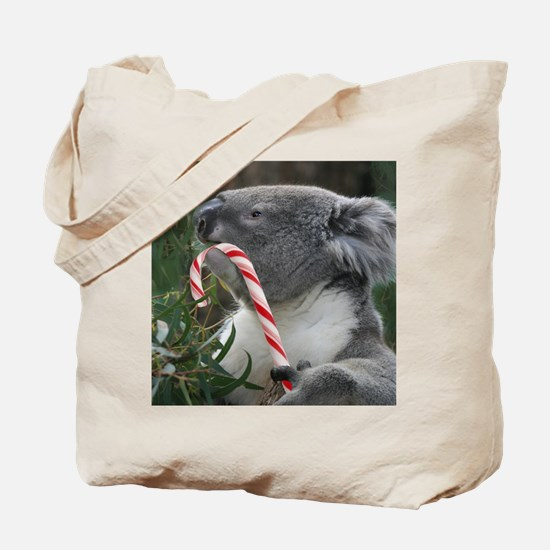 Christmas Koala Candy Cane Tote Bag