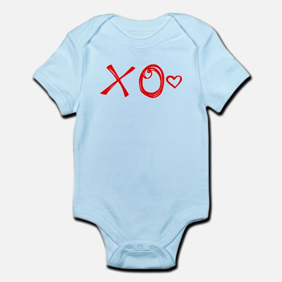 Red XO Heart Doodle Body Suit