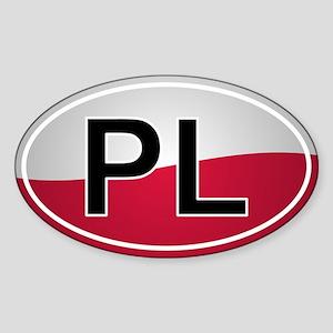 Polish Oval Car Sticker - Flag Design