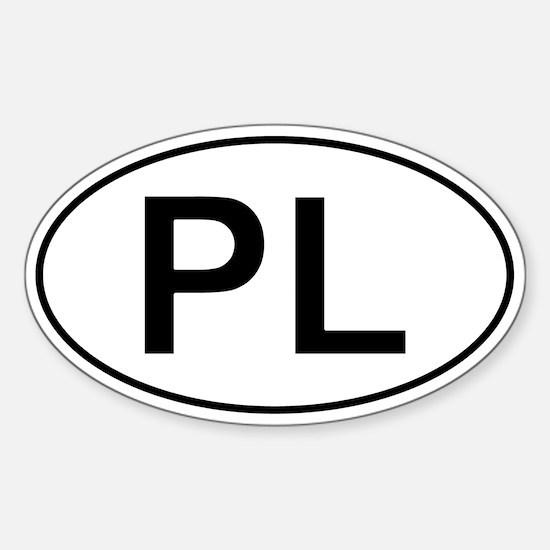 Polish Oval Car Sticker - Pl For Poland