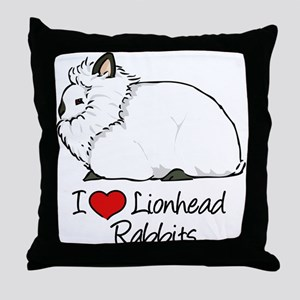 I Heart Lionhead Rabbits Throw Pillow