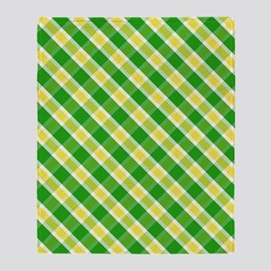 Plaid Yellow White And Green Throw Blanket