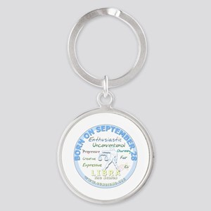 September 28th Birthday - Libra Per Round Keychain