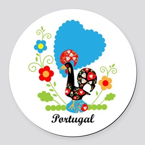 Portuguese Rooster Round Car Magnet