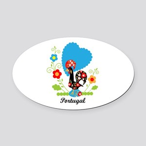 Portuguese Rooster Oval Car Magnet