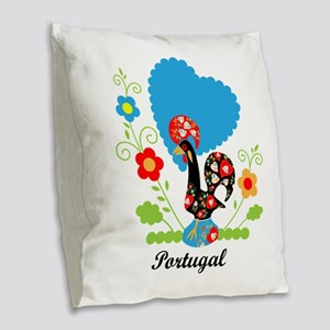 Portuguese Rooster Burlap Throw Pillow