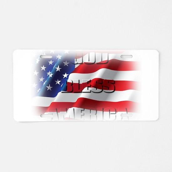 Patriotic God Bless America Aluminum License Plate