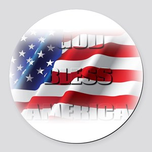 Patriotic God Bless America Round Car Magnet